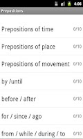 Screenshot of Prepositions Lite
