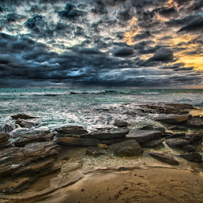 Burns Beach Sunset by Loredana  Smith - Landscapes Sunsets & Sunrises ( relaxation romance, ocean, beach, beauty, travel, coastline, landscape, coast, sun, escape, solitude  tourism, tranquil, sky, nature, ripples, idyllic, climate, clouds, water, sand, waves, sea, vacations, paradise, coastal, tourist, traveling, serene, sunset, australia, view, culture, panoramic )