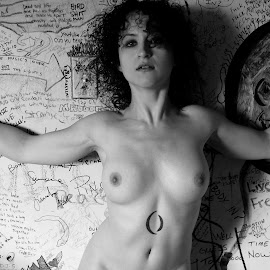 Jim Morrison by Sarah Allegra - Nudes & Boudoir Artistic Nude ( nude, bw, white, self, tribute, la cienega, photo, portrait, jim morrison, motel, the doors, shrine, girl, iconic, sarah allegra, black, room, woman, b&w, person )