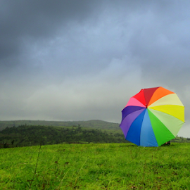 RAINBOW  by Tanvir Patel - Landscapes Weather ( hills, monsoon, grass, colorful, green, colors, weather, rainbow )