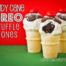 Candy Cane Oreo Truffle Cones