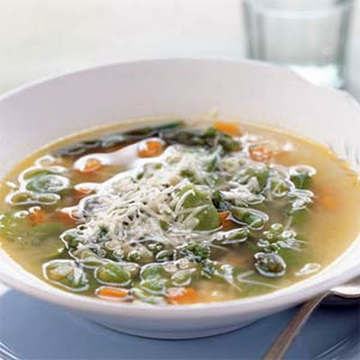 Fava Bean, Asparagus, and Pasta Soup