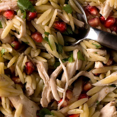 Poached Chicken and Pomegranate Orzo
