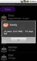 Screenshot of Birthday Reminder