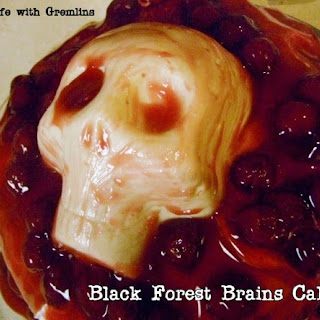Halloween Black Forest Brains Cake