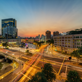 Traffic Sunset. by Zexsen Xie - City,  Street & Park  Skylines