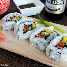 Mango Salmon Sushi Rolls and Kirin Beer