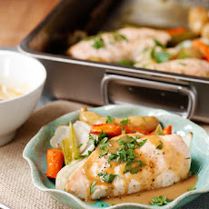 Roasted Chicken and Vegetables with Maple Mustard Sauce