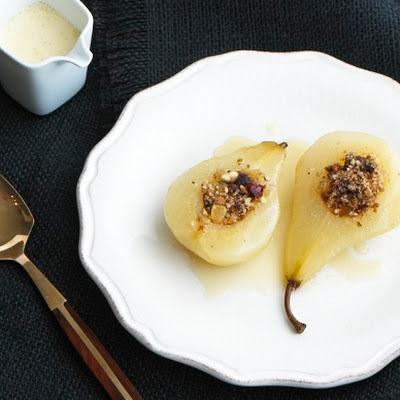 Ginger Poached Pears with Honeyed Vanilla Custard