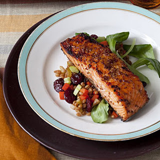 Maple-Glazed Salmon with Warm Wheat Berry Salad