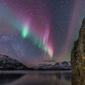 Aurora and rock by Benny Høynes - Landscapes Starscapes ( winter, northernlights, aurora, rock, norway, colours,  )