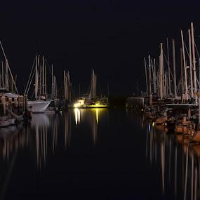 Santa Barbara CA Marina by Phil Olson - Transportation Boats ( boats, night, long exposure, marina, sailboat,  )