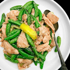 Stir-Fried Velvet Chicken with Snap Peas and Lemon-Ginger Sauce
