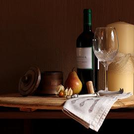 wine & platter still life by Devin Lester - Food & Drink Alcohol & Drinks ( wine, candle, platter, glasses, still life )