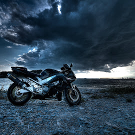 Rider in the storm by Ken Mccartney - Transportation Motorcycles ( water, mass, honda, hdr, gut, motorcycle, hull, storm )
