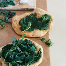 Flatbread with Sorrel Pesto and Edible-Weed Salad