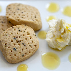 Oatmeal and Lavender Shortbread with Whipped Goat Cheese and Lemon Coulis
