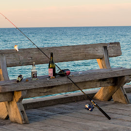 Overnight Fisherman by Sandra Pyke - Artistic Objects Other Objects ( bench, melbourne, beach, garbage, chair, beer, sanlee, littering, seat, alcohol, australia, pier, fishing, sunrise, frankston )