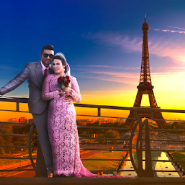 Paris by Shabby Crazzy - Digital Art People ( paris, wedding, bride and groom )