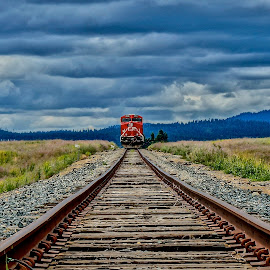 Across the Prairie by Barbara Brock - Transportation Railway Tracks ( train tracks, railroad tracks, railway, cloudy skies, train, prairie )