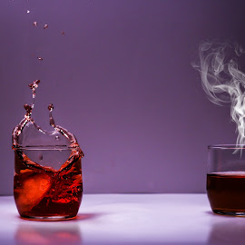 Smoke/splash and beer by Mason Bletscher - Food & Drink Alcohol & Drinks ( beer, purple, cups, splash, food, ice, drink, ice cube, cube, smoke )
