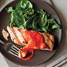 Salmon with Red Pepper Pesto