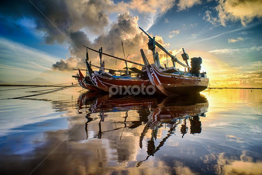 .:: red hot ::. by Setyawan B. Prasodjo - Transportation Boats ( reflection, warm, sun shine, blue hour, sunrise )