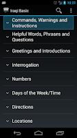 Screenshot of Iraqi Basic Phrases