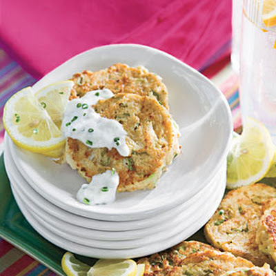 Mini Crab Cakes With Garlic-Chive Sauce