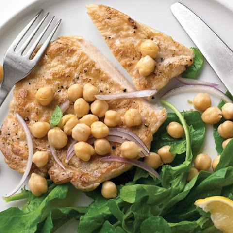 Emeril's Chicken Paillards with Chickpea Relish and Arugula