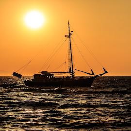 Sailing by Pedro Silva - Transportation Boats ( sailing, sunset, greece, eagean sea, pedrosilvaimages, boat, pedro silva )