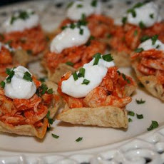 Buffalo Chicken Filled Tortilla Cups