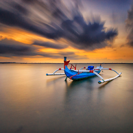 Cloudy in Tuban by Gede Suyoga - Transportation Boats ( sky, sunrise, boat, landscape, motion )