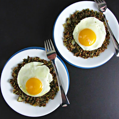 Baked Eggs with Red Quinoa & Spinach