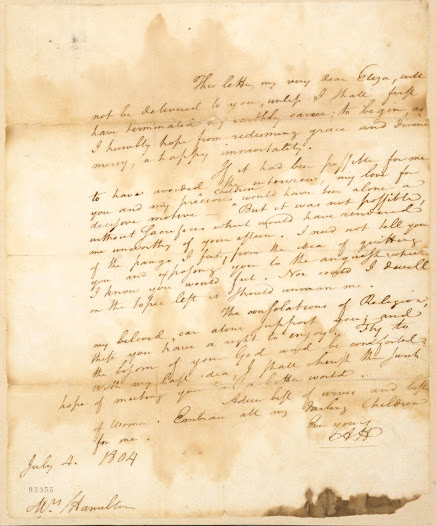"Knowing the expected duel (sometimes referred to as an ""interview"") could mean his death, Hamilton prepared a letter for his wife, Elizabeth.  ""If it had been possible for me to have avoided the interview, my love for you and my precious children would have been alone a decisive motive. But it was not possible."""