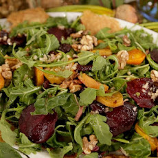 Emeril Lagasse's Roasted Beet Salad with Walnut Dressing and Cheese Crisps