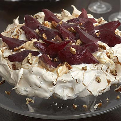 Pecan Toffee Meringue With Mulled Pears