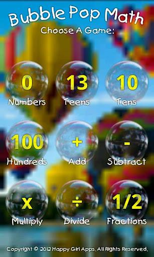 Bubble Pop Math Kids Game