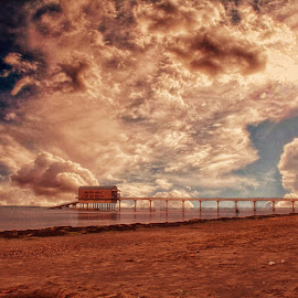 Bubbling Clouds  by Kelly Murdoch - Landscapes Weather ( clouds, sand, bubbling clouds, uk, lifeboat station, sea, zta, rays, england, blue, iow, su, pier, weather, brown, isle of wight, rain, beacvh )