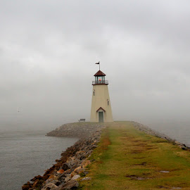 Foggy Lighthouse by Kathy Suttles - Landscapes Weather