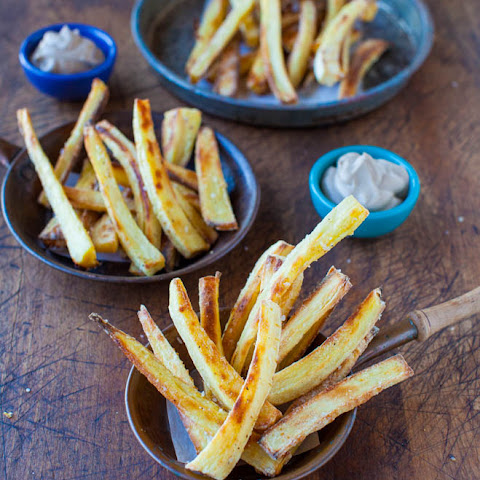 Baked Parsnip Fries with Creamy Balsamic Reduction Dip (vegan, gluten-free)
