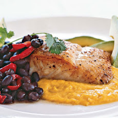 Seared Halibut with Yellow-Pepper Sauce