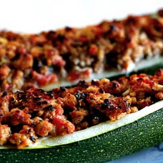 Stuffed Zucchini with Turkey Sausage