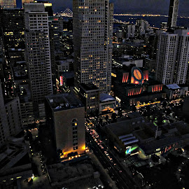 san francisco by night by Leslie Hunziker - Buildings & Architecture Office Buildings & Hotels ( lights, night, bridge, san francisco, city,  )
