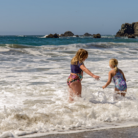 Little Girls Frolicking in the Waves by Jeanine Akers - Babies & Children Children Candids ( playing, schoolhouse beach, sand, little girls, pacific ocean, ocean, nikond610 )