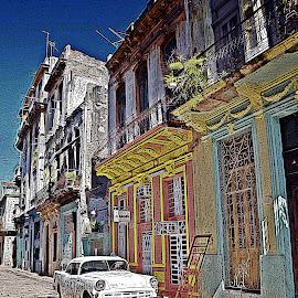 Havana Cuba colourful street by K Morgan - City,  Street & Park  Street Scenes ( classic car, engraved, street scene, havana, cuba )