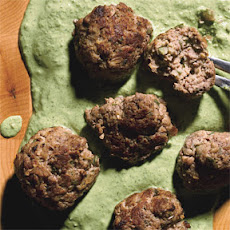Middle Eastern Bison Meatballs with Cilantro-Yogurt Sauce