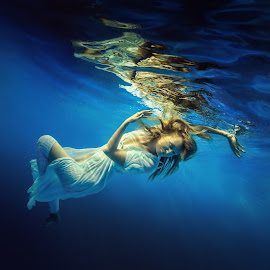 Blue water by Dmitry Laudin - People Portraits of Women ( underwater, blue, dress, woman, swim, hair )