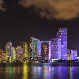 Miami at night by Dmitriy Andreyev - City,  Street & Park  Skylines ( skyline, miami, night,  )