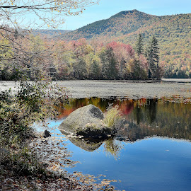 From the Reservoir by Dennis Rubin - Landscapes Mountains & Hills ( tranquil, hill, reservoir, autumn, 2014, fall, vt, october 2014, reflections, october, vermont )